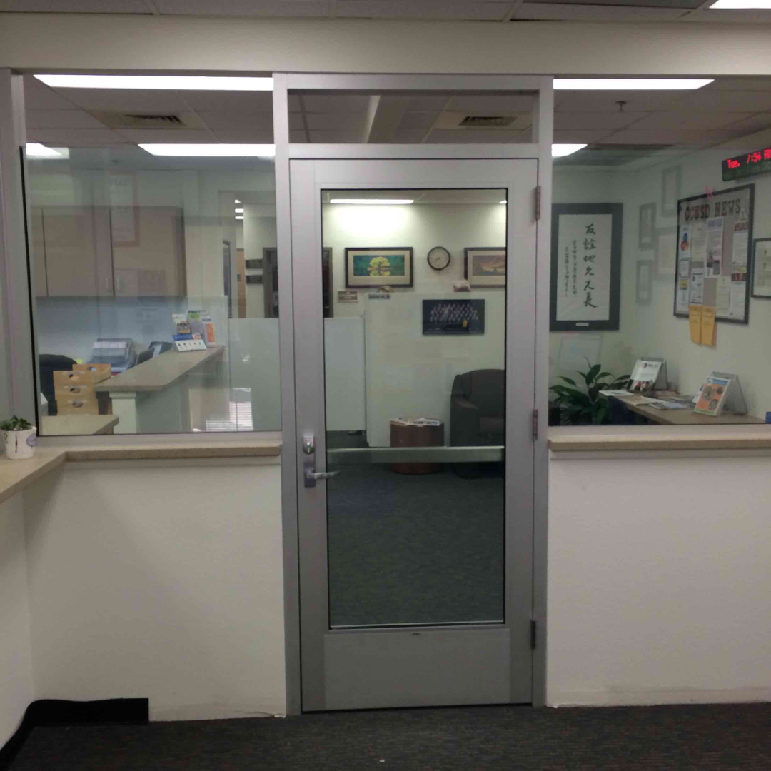 shatter resistant glass door for school office