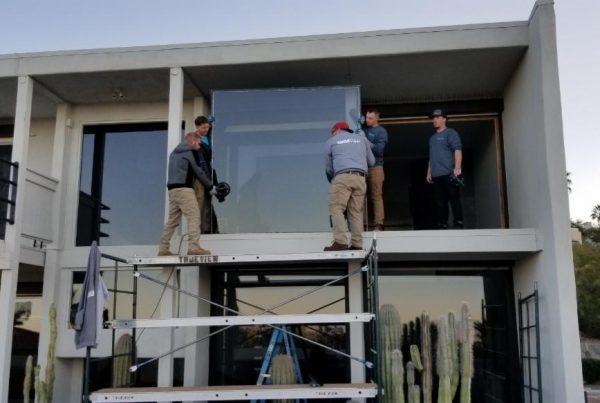 true view team installing second floor window